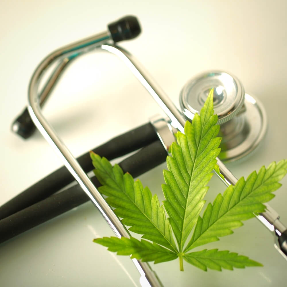 Cannabis leaf with a stethoscope